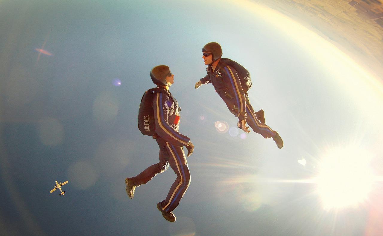 free fall, diving, sky