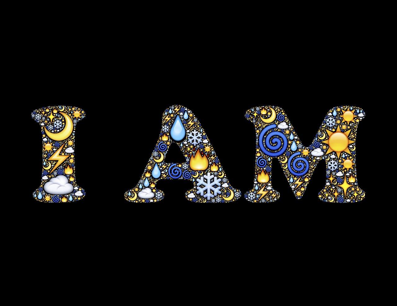 i am, words, font