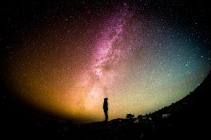 milky way, universe, person