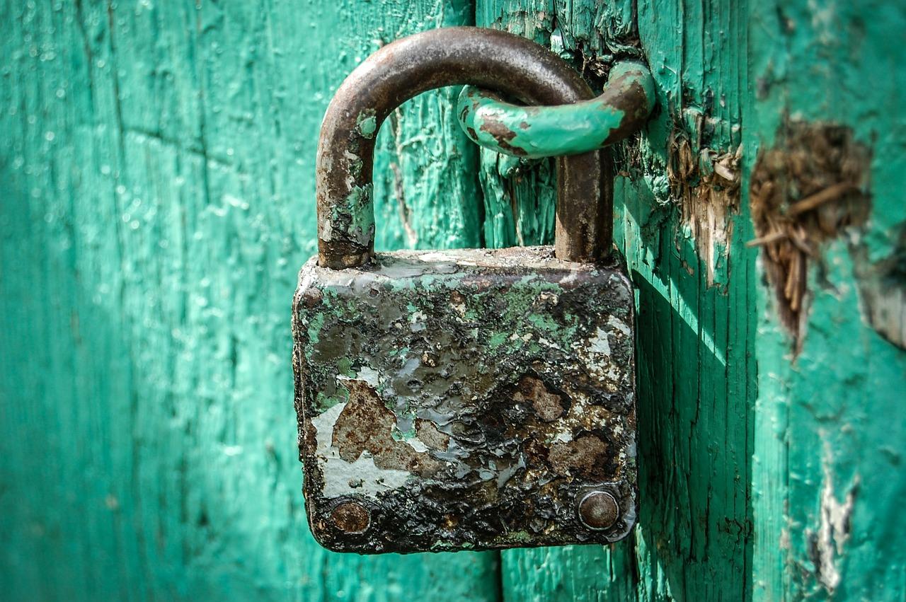 padlock, locked, old